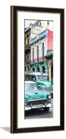 Cuba Fuerte Collection Panoramic - Green Classic Cars in Havana-Philippe Hugonnard-Framed Photographic Print