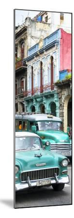 Cuba Fuerte Collection Panoramic - Green Classic Cars in Havana-Philippe Hugonnard-Mounted Photographic Print