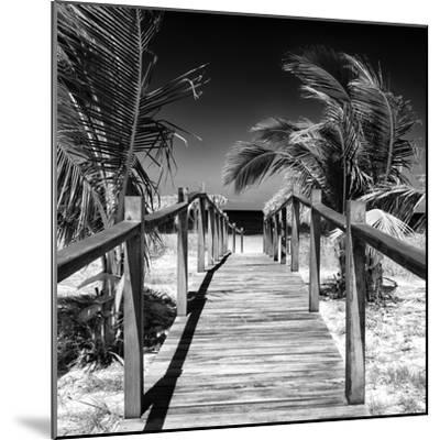 Cuba Fuerte Collection SQ BW - Wooden Jetty on the Beach-Philippe Hugonnard-Mounted Photographic Print