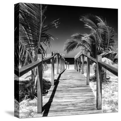 Cuba Fuerte Collection SQ BW - Wooden Jetty on the Beach-Philippe Hugonnard-Stretched Canvas Print