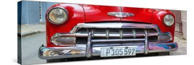 Cuba Fuerte Collection Panoramic - Detail on Red Classic Chevy-Philippe Hugonnard-Stretched Canvas Print