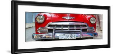 Cuba Fuerte Collection Panoramic - Detail on Red Classic Chevy-Philippe Hugonnard-Framed Photographic Print