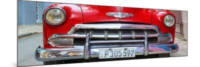 Cuba Fuerte Collection Panoramic - Detail on Red Classic Chevy-Philippe Hugonnard-Mounted Photographic Print