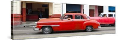 Cuba Fuerte Collection Panoramic - Havana Red Car-Philippe Hugonnard-Stretched Canvas Print