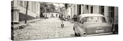 Cuba Fuerte Collection Panoramic BW - Colorful Street Scene in Trinidad-Philippe Hugonnard-Stretched Canvas Print