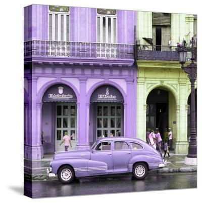 Cuba Fuerte Collection SQ - Colorful Architecture and Mauve Classic Car-Philippe Hugonnard-Stretched Canvas Print