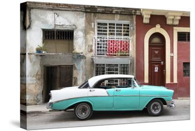 Cuba Fuerte Collection - Turquoise Classic Car in Havana-Philippe Hugonnard-Stretched Canvas Print