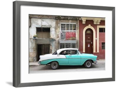 Cuba Fuerte Collection - Turquoise Classic Car in Havana-Philippe Hugonnard-Framed Photographic Print