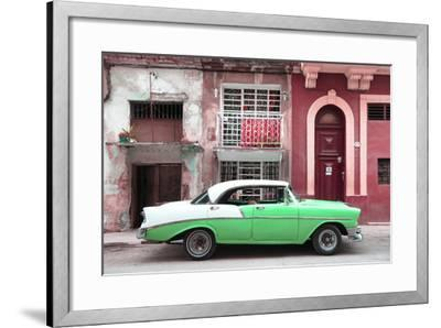 Cuba Fuerte Collection - Green Classic Car in Havana-Philippe Hugonnard-Framed Photographic Print