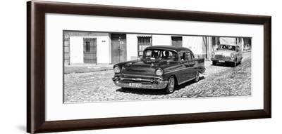 Cuba Fuerte Collection Panoramic BW - Cuban Taxis-Philippe Hugonnard-Framed Photographic Print