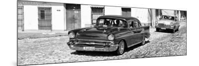 Cuba Fuerte Collection Panoramic BW - Cuban Taxis-Philippe Hugonnard-Mounted Photographic Print