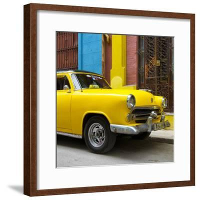 Cuba Fuerte Collection SQ - Close-up of Yellow Taxi of Havana IV-Philippe Hugonnard-Framed Photographic Print