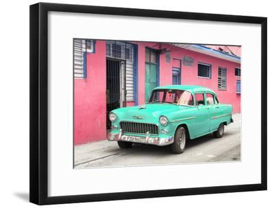 Cuba Fuerte Collection - Beautiful Classic American Turquoise Car-Philippe Hugonnard-Framed Photographic Print