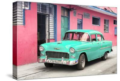 Cuba Fuerte Collection - Beautiful Classic American Turquoise Car-Philippe Hugonnard-Stretched Canvas Print