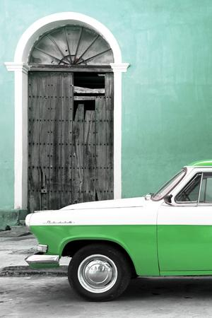 Cuba Fuerte Collection - Close-up of American Classic Car White and Green-Philippe Hugonnard-Framed Photographic Print