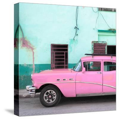 Cuba Fuerte Collection SQ - Havana Classic American Pink Car-Philippe Hugonnard-Stretched Canvas Print