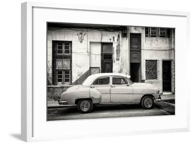 Cuba Fuerte Collection B&W - Classic American Car in Havana Street III-Philippe Hugonnard-Framed Photographic Print