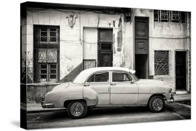 Cuba Fuerte Collection B&W - Classic American Car in Havana Street III-Philippe Hugonnard-Stretched Canvas Print
