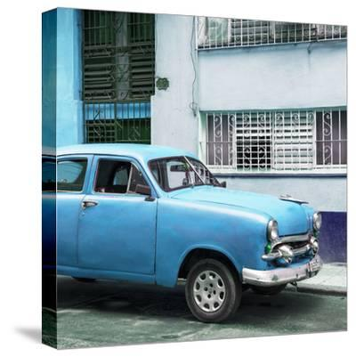 Cuba Fuerte Collection SQ - Old Blue Car in the Streets of Havana-Philippe Hugonnard-Stretched Canvas Print