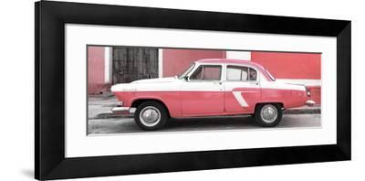 Cuba Fuerte Collection Panoramic - American Classic Car White and Pink-Philippe Hugonnard-Framed Photographic Print