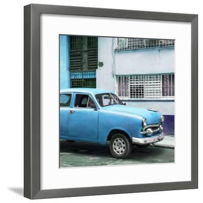 Cuba Fuerte Collection SQ - Old Blue Car in the Streets of Havana-Philippe Hugonnard-Framed Photographic Print