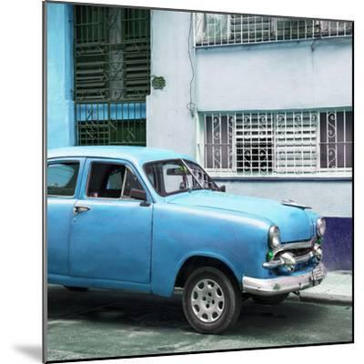 Cuba Fuerte Collection SQ - Old Blue Car in the Streets of Havana-Philippe Hugonnard-Mounted Photographic Print