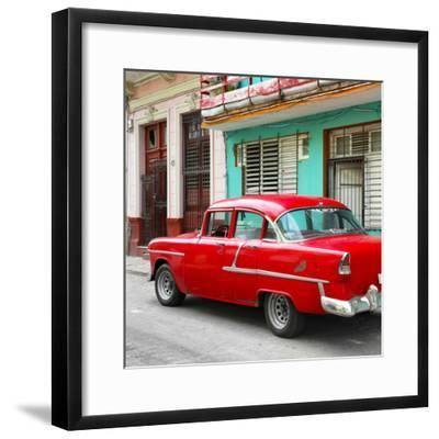 Cuba Fuerte Collection SQ - Old Cuban Red Car-Philippe Hugonnard-Framed Photographic Print