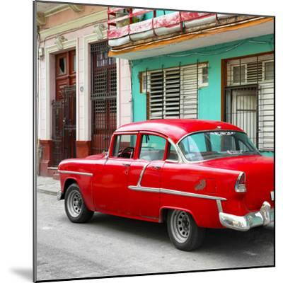 Cuba Fuerte Collection SQ - Old Cuban Red Car-Philippe Hugonnard-Mounted Photographic Print