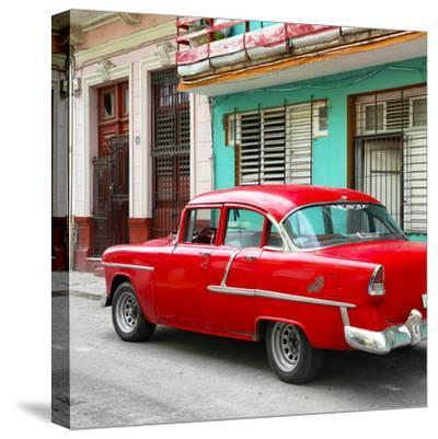 Cuba Fuerte Collection SQ - Old Cuban Red Car-Philippe Hugonnard-Stretched Canvas Print