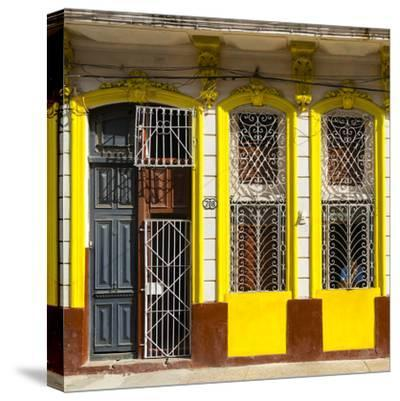 Cuba Fuerte Collection SQ - 708 Street Yellow Facade-Philippe Hugonnard-Stretched Canvas Print