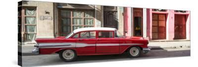 Cuba Fuerte Collection Panoramic - Old Red Car in Havana-Philippe Hugonnard-Stretched Canvas Print