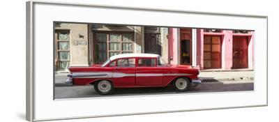 Cuba Fuerte Collection Panoramic - Old Red Car in Havana-Philippe Hugonnard-Framed Photographic Print
