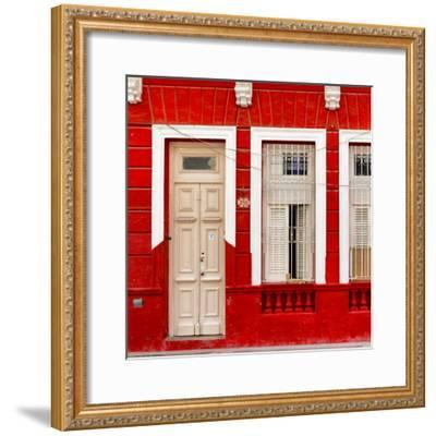 Cuba Fuerte Collection SQ - 355 Street Red Facade-Philippe Hugonnard-Framed Photographic Print