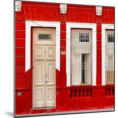 Cuba Fuerte Collection SQ - 355 Street Red Facade-Philippe Hugonnard-Mounted Photographic Print