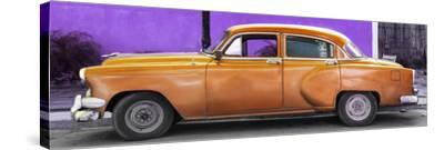 Cuba Fuerte Collection Panoramic - Beautiful Retro Orange Car-Philippe Hugonnard-Stretched Canvas Print