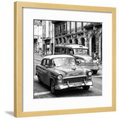 Cuba Fuerte Collection SQ BW BW - Taxi Cars Havana-Philippe Hugonnard-Framed Photographic Print