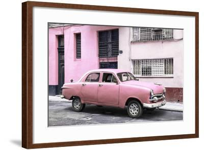 Cuba Fuerte Collection - Old Pink Car in the Streets of Havana-Philippe Hugonnard-Framed Photographic Print