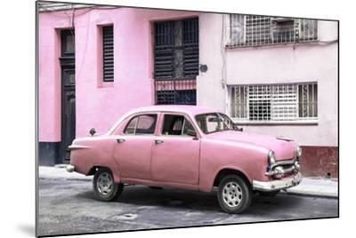 Cuba Fuerte Collection - Old Pink Car in the Streets of Havana-Philippe Hugonnard-Mounted Photographic Print