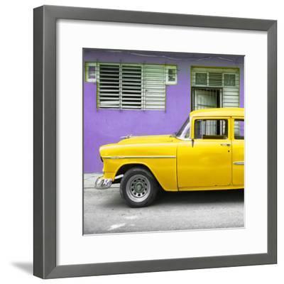 Cuba Fuerte Collection SQ - Vintage Cuban Yellow Car-Philippe Hugonnard-Framed Photographic Print