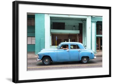 Cuba Fuerte Collection - Blue Taxi Car-Philippe Hugonnard-Framed Photographic Print