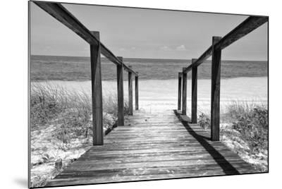 Cuba Fuerte Collection B&W - Wooden Pier on Tropical Beach II-Philippe Hugonnard-Mounted Photographic Print