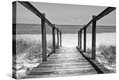 Cuba Fuerte Collection B&W - Wooden Pier on Tropical Beach II-Philippe Hugonnard-Stretched Canvas Print
