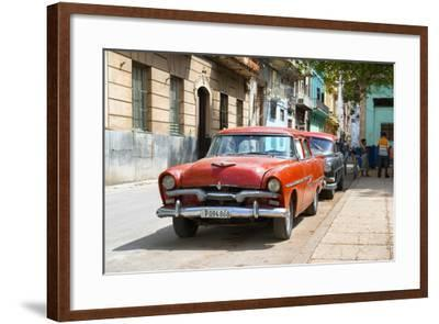 Cuba Fuerte Collection - Red Classic Car in Havana-Philippe Hugonnard-Framed Photographic Print