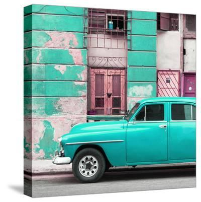 Cuba Fuerte Collection SQ - Turquoise Classic American Car-Philippe Hugonnard-Stretched Canvas Print
