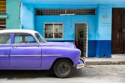 Cuba Fuerte Collection - Vintage Purple Car of Havana-Philippe Hugonnard-Framed Photographic Print