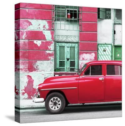 Cuba Fuerte Collection SQ - Red Classic American Car-Philippe Hugonnard-Stretched Canvas Print