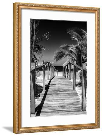 Cuba Fuerte Collection B&W - Wooden Pier on Tropical Beach VII-Philippe Hugonnard-Framed Photographic Print