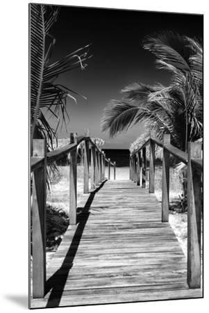 Cuba Fuerte Collection B&W - Wooden Pier on Tropical Beach VII-Philippe Hugonnard-Mounted Photographic Print