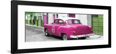 Cuba Fuerte Collection Panoramic - Pink Taxi Pontiac 1953-Philippe Hugonnard-Framed Photographic Print