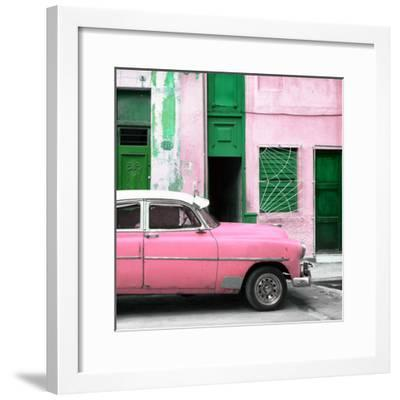 Cuba Fuerte Collection SQ - Havana's Pink Vintage Car-Philippe Hugonnard-Framed Photographic Print